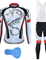 cheap -21Grams Men's Long Sleeve Cycling Jersey with Bib Tights Summer Spandex Polyester White Dragon Stripes Funny Bike Clothing Suit 3D Pad Quick Dry Moisture Wicking Breathable Back Pocket Sports Dragon