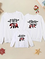 cheap -Christmas Tops Family Look Cotton Bear Letter Animal Athleisure Print White Long Sleeve Basic Matching Outfits / Fall / Spring / Cute