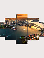cheap -5 Panels Wall Art Canvas Prints Painting Artwork Picture Sydney Opera House Painting Home Decoration Decor Rolled Canvas No Frame Unframed Unstretched