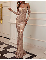 cheap -Sheath / Column Sparkle Elegant Party Wear Formal Evening Dress Off Shoulder Long Sleeve Floor Length Sequined Polyster with Sequin 2021