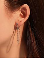 cheap -Women's Clear Cubic Zirconia Earrings Tassel Fringe Star Stylish Dangling Punk European Korean Imitation Diamond Earrings Jewelry Silver / Gold For Wedding Street Daily Holiday Festival