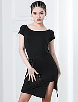 cheap -Latin Dance Ballroom Dance Dress Cinch Cord Tassel Solid Women's Training Performance Short Sleeve High Modal