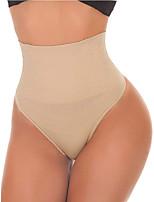 cheap -Women's Shapewear High Waist Thong Panties Sexy Slimming Underwear Ladies Solid Color Black Skin Thong Panties Plus