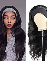 cheap -morvally headband wig synthetic long black body wave wigs for black women natural looking 180% density glueless heat resistant wigs with headbands (22 ineches)