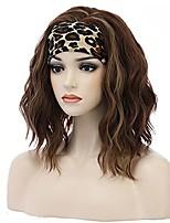 cheap -Headband Wig Mix Brown Wig Short Curly Wig Glueless Synthetic Wig Short Wavy Wig Brown Headband Wigs (Headband Pattern Random)