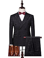 cheap -Men's Wedding Suits 3 pcs Shawl Collar Tailored Fit Double Breasted Four-buttons Patch Pocket Patterned Polyester