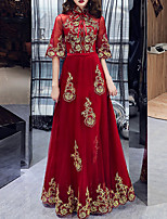 cheap -A-Line Vintage Floral Engagement Formal Evening Dress Stand Collar Half Sleeve Floor Length Tulle with Bow(s) Pleats Appliques 2021