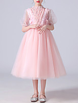 cheap -Kids Little Girls' Dress Sequin Flower Party Birthday Sequins Beaded Embroidered Blushing Pink White Midi Half Sleeve Princess Sweet Dresses Fall Spring Regular Fit 3-12 Years / Ruffle / Mesh
