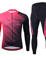 cheap -21Grams Men's Long Sleeve Cycling Jersey with Tights Spandex Rose Red Bike Quick Dry Moisture Wicking Sports Graphic Mountain Bike MTB Road Bike Cycling Clothing Apparel / Stretchy / Athletic
