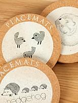 cheap -Nordic Cute Animal Round Cork Pot Mat Potholder Cup Mat Pad Placemat Coaster
