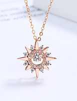 cheap -Pendant Necklace Women's Geometrical Clear S925 Sterling Silver Star Dainty Luminous Wedding Rose Gold White 21-50 cm Necklace Jewelry 1pc for Wedding Geometric