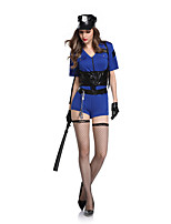 cheap -Police Cosplay Costume Adults' Women's Halloween Halloween Halloween Festival / Holiday Terylene Blue Women's Easy Carnival Costumes Solid Color / Leotard / Onesie / Gloves / Hat / Legguards