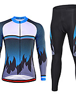 cheap -21Grams Men's Long Sleeve Cycling Jersey with Tights Winter Spandex Red Blue Bike Quick Dry Moisture Wicking Sports Graphic Mountain Bike MTB Road Bike Cycling Clothing Apparel / Stretchy / Athletic