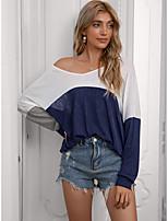 cheap -Women's T shirt Color Block Long Sleeve Patchwork V Neck Basic Tops Yellow Black Navy Blue
