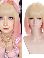 cheap -Pink Gradient Gold Short Straight Bob wig Ladies party Rolleplaying wig strap bangs heat resistant synthetic wig