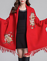 cheap -Long Sleeve Elegant Imitation Cashmere Party Evening / Wedding Party Women's Wrap With Tassel / Embroidery