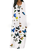 cheap -Women's Shift Dress Maxi long Dress White Black Red Long Sleeve Print Butterfly Pocket Print Fall V Neck Casual 2021 S M L XL XXL