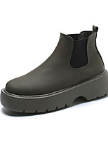 cheap -Women's Boots Chunky Heel Round Toe Booties Ankle Boots Daily PU Solid Colored Light Brown Gray Black / Booties / Ankle Boots