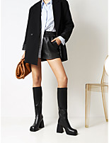 cheap -Women's Boots Block Heel Square Toe Knee High Boots Daily Work Faux Leather Solid Colored White Black