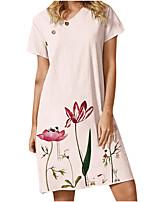 cheap -Women's A Line Dress Knee Length Dress Blushing Pink Light Green Short Sleeve Floral Button Print Summer V Neck Casual 2021 S M L XL XXL 3XL 4XL