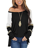 cheap -Women's T shirt Color Block Leopard Long Sleeve Patchwork Print Round Neck Basic Tops Regular Fit Blue Blushing Pink Khaki