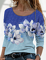 cheap -Women's Floral Theme Painting T shirt Floral Color Gradient Long Sleeve Print Round Neck Basic Tops Blue Purple Blushing Pink / 3D Print