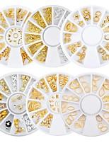 cheap -6 Box Gold Silver Metal Hollow Nail Art Studs Decorations Starfish Shell Anchor Triangle Pattern Riverts Manicure Nail Wheel