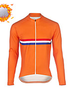 cheap -CAWANFLY Men's Long Sleeve Cycling Jersey Cycling Jacket Winter Orange Geometic Bike Tracksuit Winter Jacket Top Thermal Warm Fleece Lining Sports Clothing Apparel / Micro-elastic / Athleisure