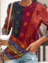 cheap -Women's Geometric Painting T shirt Geometric Long Sleeve Print Round Neck Basic Ethnic Tops Regular Fit Blue Purple Yellow / 3D Print