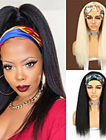 cheap -Headband Wig for Black Women 613Blonde Black Synthetic Yaki Headwraps Hair 18 Inch Long Glueless Hair New Fashion 2021