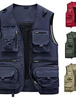 cheap -Men's Vest Daily Outdoor Fall Spring Regular Coat Regular Fit Lightweight Breathable Casual Jacket Sleeveless Solid Color Pocket Blue Light Red Khaki
