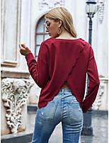 cheap -Women's T shirt Plain Long Sleeve Round Neck Basic Tops Wine