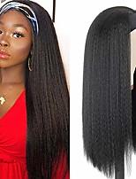 cheap -Kinky Straight Headband Wig Synthetic Hair Kinky Straight Wigs for Women Natural Black Wigs with Band 24Inch Yaki Straight Headband Wig Full And Soft(Light Yaki Wig)
