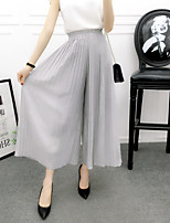 cheap -Women's Fashion Streetwear Comfort Culottes Wide Leg Chiffon Loose Casual Weekend Pants Plain Ankle-Length Pleated Elastic Drawstring Design Blushing Pink Wine Grey Green Black