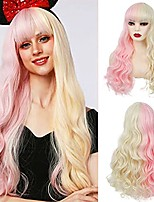 cheap -half blonde half pink wigs for women long curly wavy lolita cosplay wigs with bangs synthetic wigs for halloween costume party