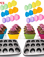 cheap -24pcs Reusable Silicone Baking Cups Muffin Liners Multicolor 12 Hole Cupcake Baking Tray Nonstick Cake Baking Mold Muffin Tray
