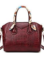 cheap -Women's Bags PU Leather Top Handle Bag Zipper Crocodile Date Office & Career Handbags Wine Black Brown