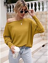 cheap -Women's T shirt Plain Long Sleeve Cold Shoulder One Shoulder Basic Tops Yellow Green Black