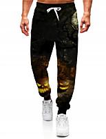 cheap -Men's Casual Designer Big and Tall Halloween Breathable Sports Jogger Pants Sweatpants Trousers Daily Fitness Pants Graphic Prints Pumpkin Full Length Drawstring Elastic Waist Black / Elasticity