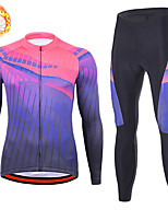 cheap -21Grams Men's Long Sleeve Cycling Jersey with Tights Winter Fleece Spandex Blue+Pink Stripes Bike Quick Dry Moisture Wicking Sports Stripes Mountain Bike MTB Road Bike Cycling Clothing Apparel
