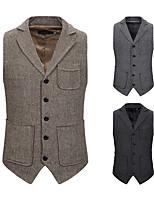 cheap -Men's Vest Gilet Daily Going out Fall Spring Short Coat Single Breasted Mandarin Collar Regular Fit Breathable Casual Jacket Sleeveless Plain Pocket Khaki Black Dark Gray