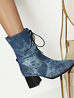 cheap -Women's Boots Chunky Heel Pointed Toe Mid Calf Boots Daily PU Solid Colored Almond Blue Black / Mid-Calf Boots