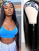 cheap -Human Hair Wig Long Straight With Headband Natural Party Women Best Quality Capless Peruvian Hair Women's Natural Black #1B 12 inch 14 inch 16 inch Daily Birthday
