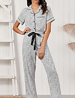 cheap -Women's Pajamas Sets Home Daily Elastic Waist Print Grid / Plaid Polyester Simple Soft Sweet Shirt Pant Fall Spring V Wire Short Sleeve Long Pant Seamed