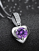 cheap -Pendant Necklace Necklace Women's Classic Cubic Zirconia Silver Plated Simple Fashion Classic Casual / Sporty Sweet Cute Purple White 45 cm Necklace Jewelry 1pc for Street Gift Daily Prom Festival