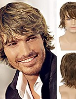 cheap -Mens Wig Light Brown Short Layered Natural Fluffy Wig Synthetic Heat Resistant Halloween Cosplay Hair Wig