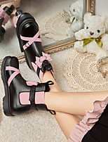 cheap -Women's Boots Chunky Heel Round Toe Mid Calf Boots Party Wedding PU Bowknot Color Block Black Light Pink / Mid-Calf Boots