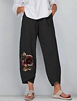 cheap -Women's Folk Style Capri shorts Loose Daily Pants Graphic Flower / Floral Ankle-Length Print Grey Black