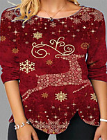 cheap -Women's Christmas 3D Printed T shirt Animal Long Sleeve Print Round Neck Basic Tops Regular Fit Red