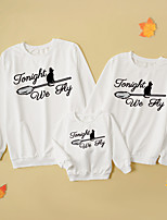 cheap -Tops Family Look Cat Letter Daily Print Gray White Adorable Matching Outfits / Fall